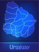 Map of Uruguay with borders as scrible — Vector de stock