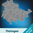 Stock Vector: Map of thuringia