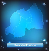Mapa de ruanda — Vector de stock