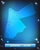 Mapa Jordánska — Stock vektor