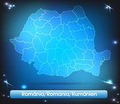 Mapa de rumania — Vector de stock