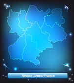 Map of Rhone-Alpes — Stock Vector