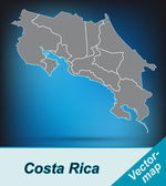 Map of Costa-Rica — Stock Vector