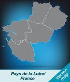 Map of Pays de la Loire — Stock Vector