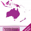 Stock Vector: Map of australia-oceania