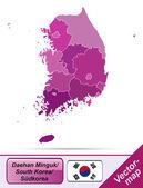 南朝鮮の地図 — ストックベクタ