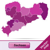 Map of Saxony — Stock Vector