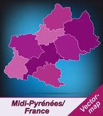 Map of Midi-Pyrenees — Wektor stockowy