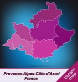 Map of Provence-Alpes-Cote d Azur — Stock Vector