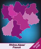 Map of Rhone-Alpes — Vector de stock