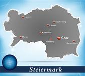 Mapa štýrska — Stock vektor