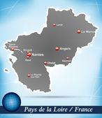 Map of Pays de la Loire — Wektor stockowy