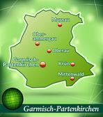 Map of Garmisch-Partenkirchen — Stock Vector