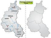 Map of Champagne-Ardenne — Wektor stockowy