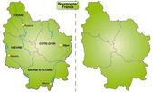 Map of Burgundy — Vettoriale Stock