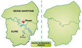 Map of Upper Normandy — Stock Vector