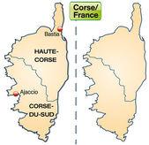 Kaart van corsica — Stockvector
