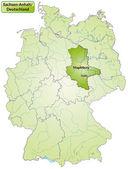 ザクセン = アンハルト州の地図 — ストックベクタ