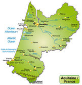 Kaart van Aquitanië — Stockvector