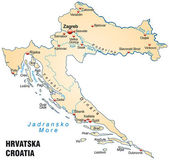 Map of Croatia — Stock Vector