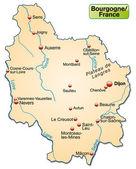 Map of Burgundy — Wektor stockowy