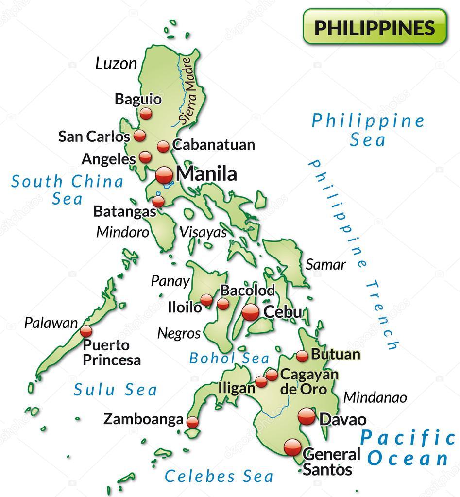 菲律宾以粉彩绿色概述地图的地图– 图库插图