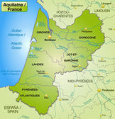 Map of aquitaine — Stock Vector