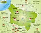 Picardie haritası — Stok Vektör