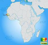 Mappa del senegal — Vettoriale Stock