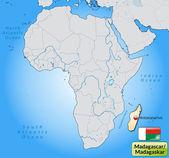 Mapa de madagascar — Vector de stock