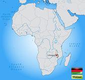 Mappa del malawi — Vettoriale Stock