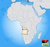 Mapa de angola — Vector de stock
