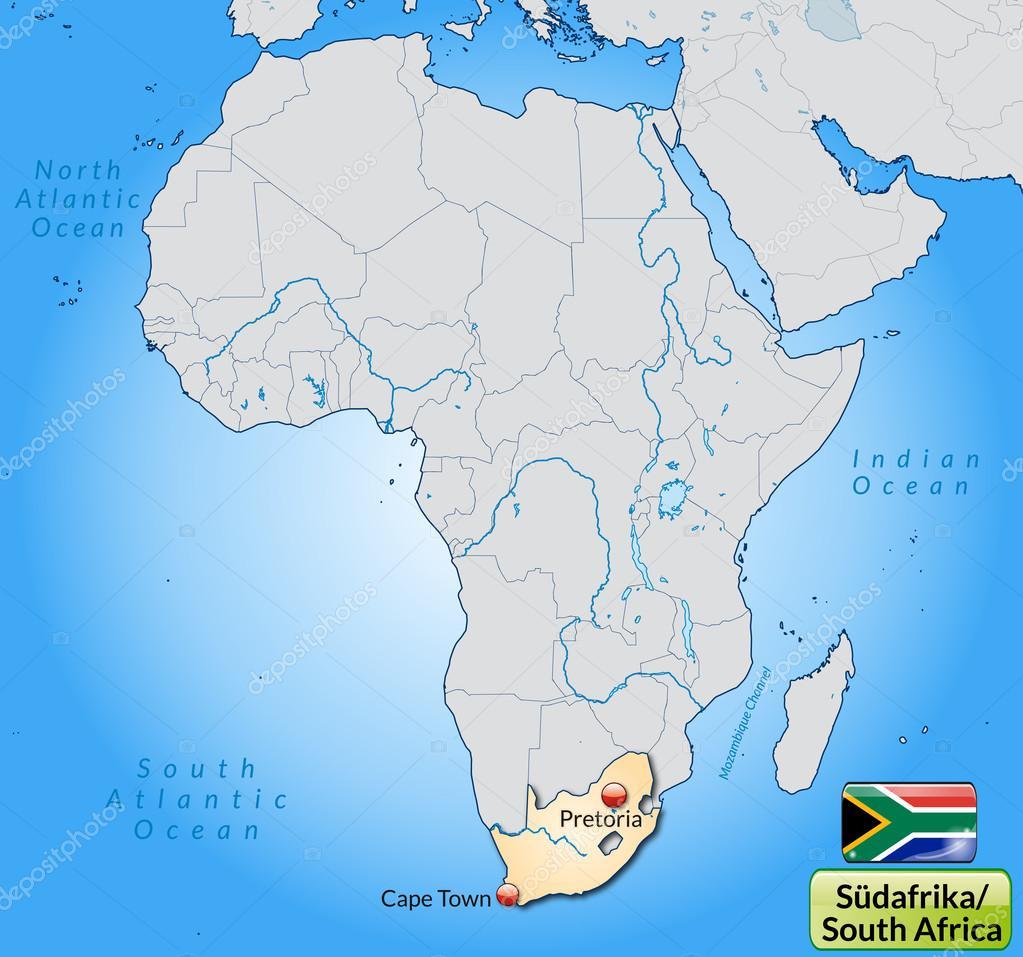 南部非洲地图 — 图库矢量图片