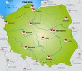 Карта Польши — Cтоковый вектор