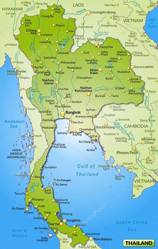 Carte de la Thaïlande — Image vectorielle artalis © #40917119