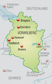 Map of vorarlberg — Stock Vector