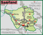 Map of Saarland — Stock Vector