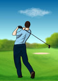 On the golf course — Stock Vector