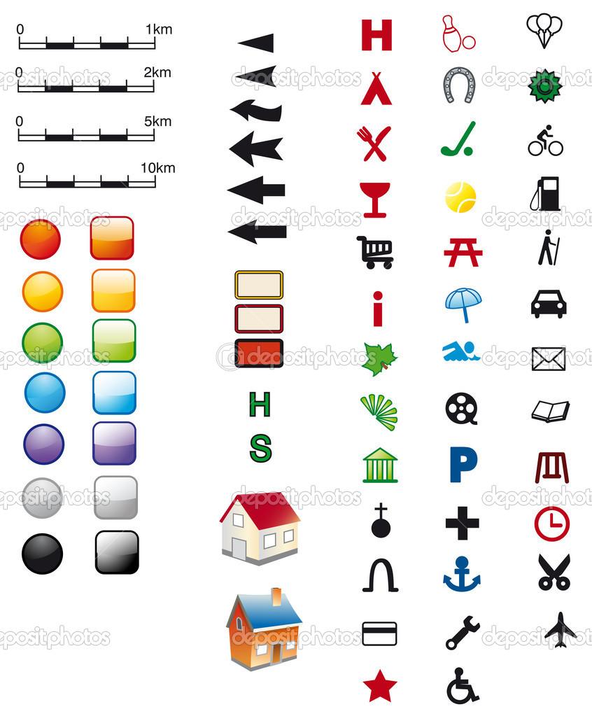 地图符号 — 图库矢量图像08