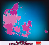 Mapa da Dinamarca — Vetor de Stock