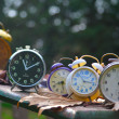 Stock Photo: Ancient alarm clocks