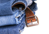 Jeans and Belt Isolated — 图库照片