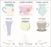Tea Cup Collection Vector — Stock Vector