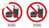 No Food or Drink Sign — Stock Vector
