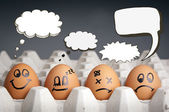 Thought Balloon Egg Characters — Stock Photo