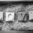 Stock Photo: Love Letters Black and White