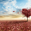 Red heart tree - Stock Photo