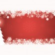 Red Christmas Card with snow flakes and christmas tree — Stock Photo