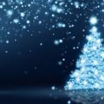 Glowing Christmas Tree Card — Stock Photo