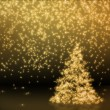 Yellow Golden Christmas Tree — Stock Photo